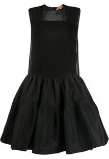 Nº21 Panelled Baby Doll Dress - Preto