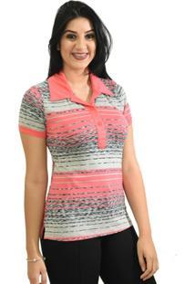 Camisa Pólo Elastano Pink feminina  b09c1cc90af69