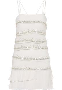 Vestido Babados Barra Plissada - Off White