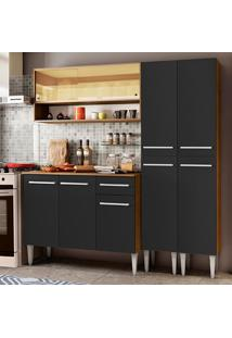 Cozinha Compacta Madesa Emilly Winter Com Armário Vidro Reflex E Balcão - Rustic/Preto Marrom