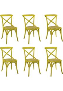 Kit 6 Cadeiras Decorativas Sala De Jantar Cozinha Danna Rattan Natural Amarela - Gran Belo - Amarelo - Dafiti