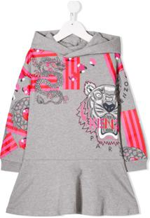 Kenzo Kids Vestido Japane Tiger - Cinza