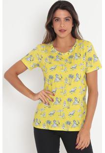 Camiseta Com Pespontos- Amarela & Branca- Colccicolcci