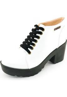 Bota Coturno Quality Shoes Feminina Verniz Branco 40