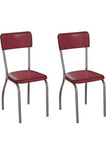 Conjunto Com 2 Cadeiras Nowra Vinho E Cromado