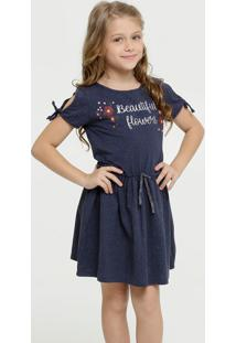 Vestido Infantil Open Shoulder Estampa Frontal Marisa