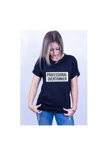 Camiseta Bilhan Corte A Fio Professional Overthinker Preta
