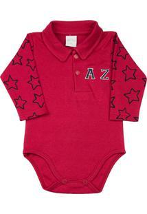 Body Bebê Golinha Suedine Liso E Estampa Estrelas Az Vermelho