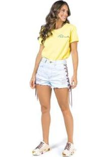 T-Shirt Bordada Love Me Feminino - Feminino-Amarelo
