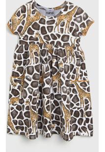 Vestido Nanai By Kyly Infantil Girafa Branco/Marrom