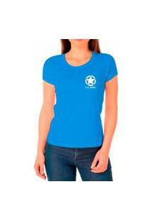 Camiseta Feminina Algodão Básica Estrela Macia Confortável Azul