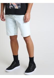 Bermuda Jeans Masculina Com Bolsos Azul Claro