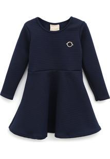 Vestido Milon Infantil Textura Azul-Marinho