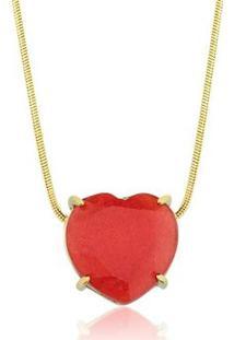 Colar Toque De Joia Coração Pedra Natural Jade Vermelha - Feminino-Dourado