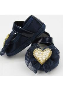 Sapato Danda Nenê Coração Pérolas - Feminino