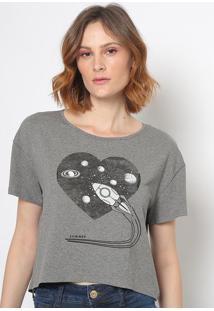 """Camiseta """"Foguete""""- Cinza & Preta- Sommersommer"""