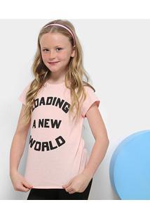 Camiseta Infantil Dimy Candy Estampada Feminina - Feminino-Rosa
