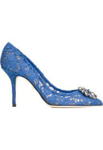 Dolce & Gabbana Sapato De Couro Com Renda - Azul