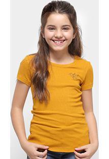 Camiseta Infantil Colcci Fun Básica Feminina - Feminino-Amarelo