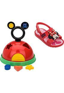 Sandália Infantil Disney Grendene Kids Mickey E Minnie Baby - Feminino-Vermelho+Rosa