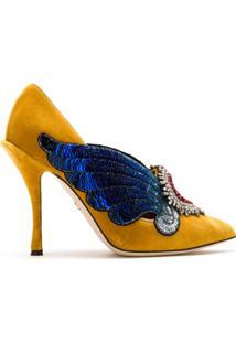 Dolce & Gabbana Scarpin Em Veludo Com Aplicações - Amarelo
