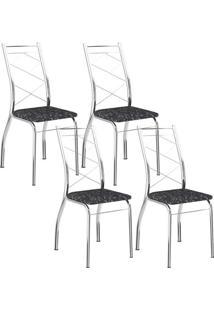 Cadeira 1710 Cromada 04 Unidades Fantasia Preto Carraro
