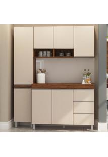 Cozinha Compacta 7 Portas 3 Gavetas Sabrina 12901 Seda/Off White - Viero Móveis