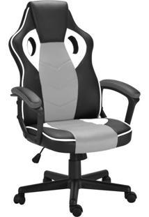 Cadeira De Escritório Diretor Giratória Gamer Scifi Preta, Cinza E Branca
