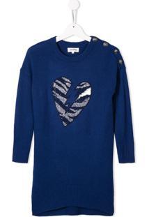 Zadig & Voltaire Kids Vestido Com Corações - Azul