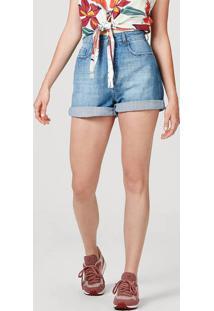 Shorts Feminino Em Jeans De Algodão Com Bolso
