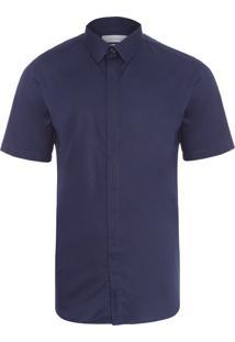 Camisa Masculina Vista Embutida - Azul
