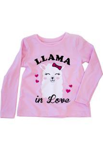 Camiseta Llama In Love Manga Longa Rosa