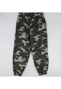 Calça Juvenil Jogger Estampada Camuflada Verde Militar