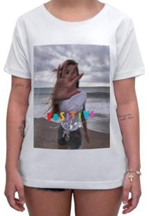 Camiseta Impermanence Estampada Positive Vibe Feminina - Feminino-Branco