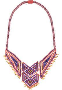 Jessie Western Beaded Boho Necklace - Vermelho
