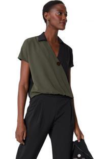 Amaro Feminino Camisa Transpassada Botão Frontal, Militar