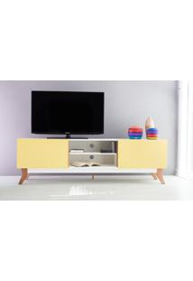 Rack Tv Vintage 1800 Mdf Branco 2 Portas Amarela - 180X44X55 Cm