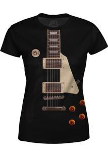 Camiseta Baby Look Guitarra Les Paul Over Fame Preta