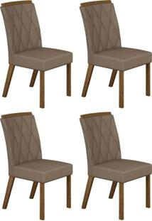 Conjunto Com 4 Cadeiras Esmeralda Ipê E Veludo Camurça