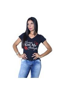 Camiseta Heide Ribeiro Always Kiss Me Goodnight Preto