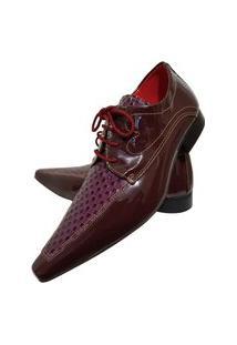 Sapato Masculino Italiano Oxford Em Couro Art Sapatos Vinho