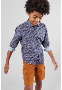 Camisa Infantil Reserva Mini Pf Liberty Floral Navy Masculina - Masculino-Azul Petróleo