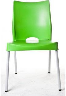 Cadeira Malba Base Fixa Pintada Cinza Cor Verde - 10312 - Sun House