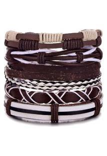 Bracelete 5 Em 1 Pulseira Artestore Em Couro Marrom E Branca