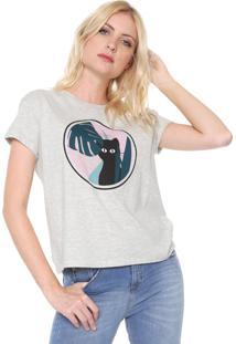 Camiseta Dzarm Estampada Cinza