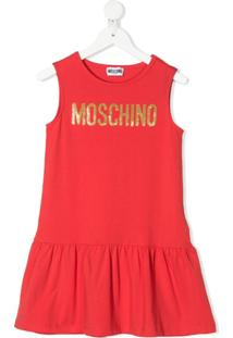 Moschino Kids Vestido Com Logo De Paetês - Vermelho