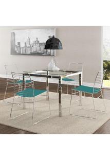 Mesa 326 Vidro Incolor Cromada Com 4 Cadeiras 1712 Turquesa Carraro