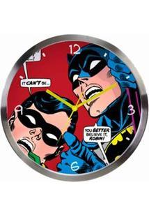 Relógio De Parede Em Metal Dc Comics Batman E Robin