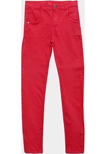 Calça Sarja Infantil Quimby Lisa Feminina - Feminino-Vermelho