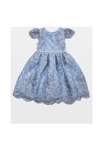 Vestido Laureh Bordado Betina Air Blue